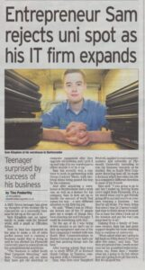 A young Sam Kingdon, Managing Director, featured in a newspaper.