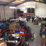 A view from above in a tidy warehouse