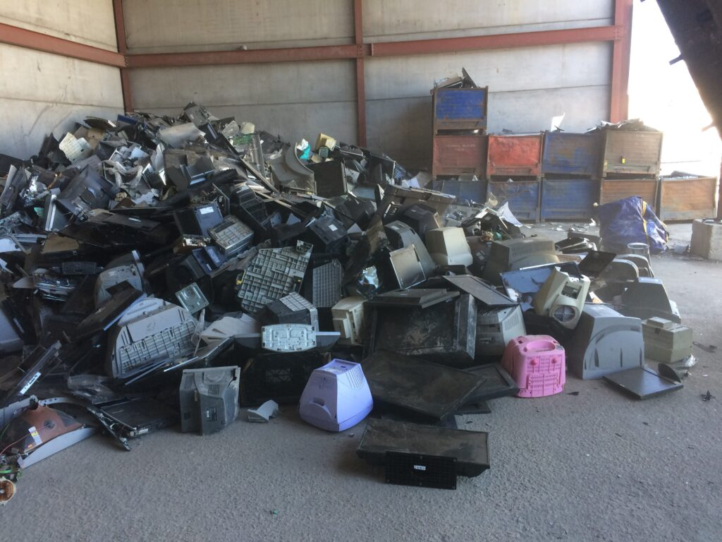 A loose pile of waste sorted display equipment